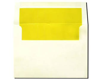 20 Cream with Sun Yellow Lined Envelopes - A7 Size