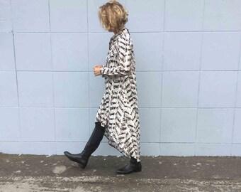Sale! Long sleeves buttoned printed Dress, Asymmetric hem.