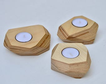 Single Angled Plywood Tea Light Holder