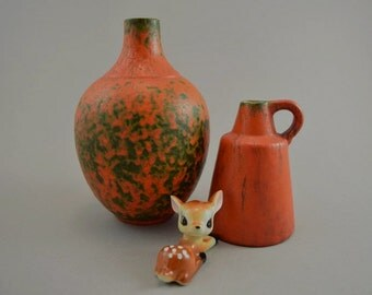 Vintage set of 2 vases / Ruscha / decor Vulcano | West Germany | WGP | 60s