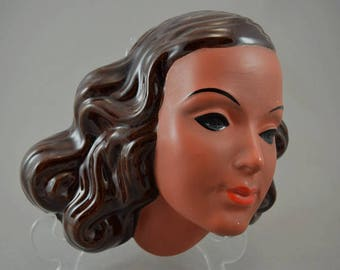 Vintage wall mask / wall decoration / woman's head / Goldscheider / 533 | West Germany | 50s