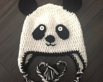 Panda Bear Earflap Hat Crochet Pattern : Items similar to Panda Bear Hat Pattern - Crochet Pattern ...