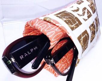 Orange Double Glasses Case, Double Eyeglass Pouch, Quilted Sunglass Case, Eyeglasses Case, Twin Glasses Pouch