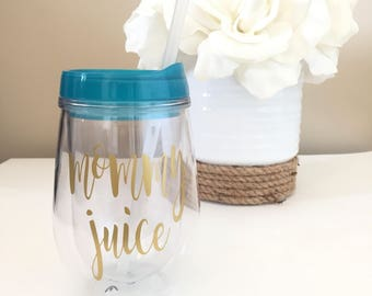 Mommy Juice Wine Glass Tumbler, Bev2go Gift for Mom