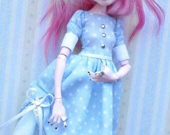 Monster girl clothes OOAK custom handmade retro BLUE + MINT polka dress