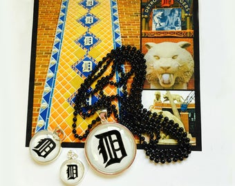 """Detroit Tiger Charm with Black 30"""" Ball Chain You Choose Size"""