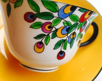 Crown Staffordshire Henry Birks and Sons Yellow Art Nouveau Tea Cup and Saucer
