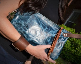 Distressed Blue Wristlet Clutch with Navy