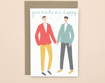 Illustrated Couple Valentine's Card A6 Gay Men