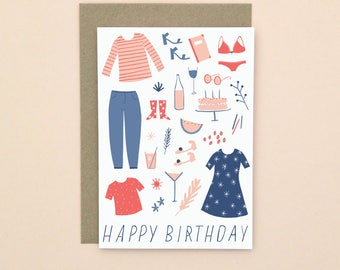 Illustrated Happy Birthday Card