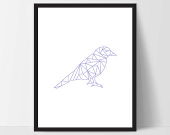 Blue Geometric Bird, Wall Art, Wall Print, Boho Art, Wall Prints, Bird Prints, Art, Sitting Bird, Art