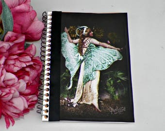 Blank Notebook Fairy Journal Altered Art Book  Original Art Cover Diary Vintage Style Notepad Artwork