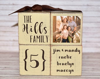 Personalized Family Blocks -Family Photo Wooden Decor -Rustic Family Home Decor -Personalized Family Photo Blocks -Wooden Wedding Photo Gift