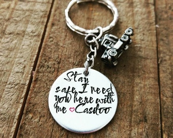 Stay safe - I need you here with me - Truck Driver -Trucker Wife Jewelry - Be Safe keychain - Guardian keychain