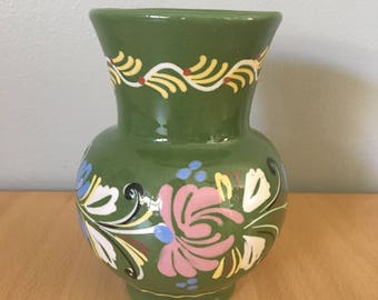 Chunky green Talavera style ceramic vase hand-painted in Mexico with pink blue yellow white & black flowers for tropical Old Florida home!