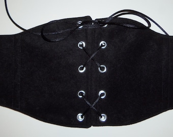 """Black Velvety/Suede Under Bust Corset or Waist Chincher for Renaissance Pirate or Steampunk Costumes 26 1/2"""" Waist Size 12 (A)"""