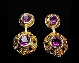 Vintage Swarovski Pierced Earrings Dangle Drop Amethyst Purple & Gold Tone Swan Logo Signed ca. Late 1980s - Early 1990s