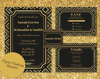 gold great gatsby wedding invitation suite - Great Gatsby Wedding Invitations