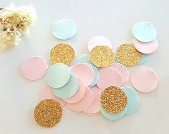 Gender Reveal Confetti (240pc)Baby shower confetti,pink and gold circle confetti,pink blue gold confetti,Gender reveal decoration,Wedding