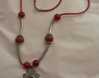 Carnelian Sterling Silver Navajo Pendant Red Leather Salvaged Necklace 21.5""