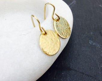 Gold Brass Earrings Hammered Drop Earrings Round Disc Dangle Jewellery uk