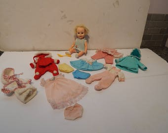 Vintage Suzy Cute Doll with  7 outfits Including what she has on Deluxe Reading 1960s