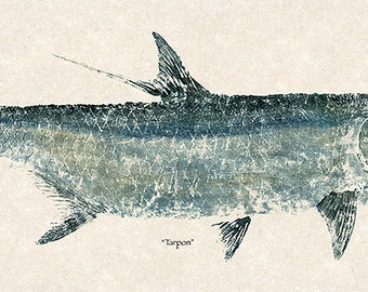 "New Super Size Limited Edition"" Tarpon "" gyotaku print"