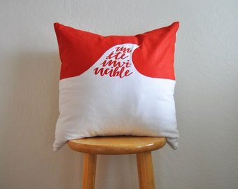pillow cover // invincible summer // 20 inch square // handprinted // blood orange