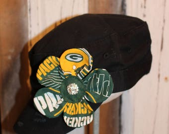 Green Bay Packers flower pin clip.  Hat or hair accessory