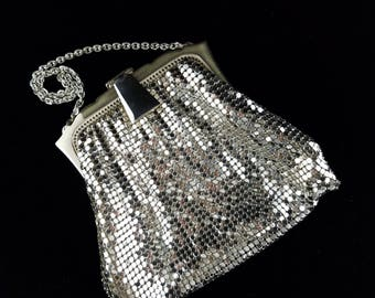 Whiting and Davis Co, Small ART DECO Evening Mesh Bag, Silver Plated with Mirror, 1940's, USA
