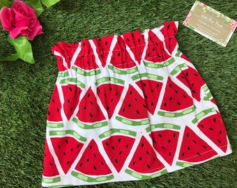 CLEARANCE SALE!!! Adorable Handmade Paperbag Skirt- Watermelon Print - Perfect for Babies and Toddlers
