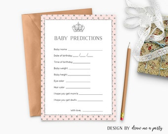 Princess Baby Predictions , Pink Silver Royal Baby Shower Game , Baby Stats , Guessing Game Card , Pink Silver Printable , Instant Download