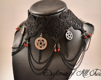 Kit Choaker and earrings gothic Necklace black lace pentagram pentacle magic symbols and chains