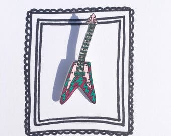Guitar! handmade & illustrated brooch, pin, badge, one of a kind original design.