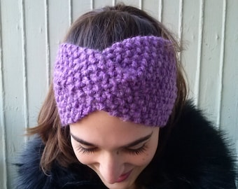 Winter headband,purple knitted headband