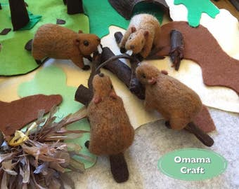 Needle Felt Animal Sculpture - Beaver
