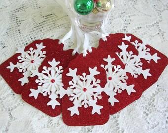 Christmas Tags - Large Christmas Gift Tags - Snowflake Gift Tags Large  - Set of 6 Rhinestone Center Glitter Holiday Tags