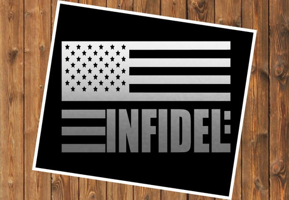 Free Shipping-Infidel Car Yeti RTIC Tumbler Cup decal, Decal Sticker Car Window, Yeti RTIC SIC Tumbler Cup Decal Sticker, American Infidel