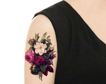 Temporary Tattoo - Purple Flower / Purple Bouque Vintage Flower Tattoo - Various Patterns and Sizes