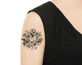 Temporary Tattoo - Vintage Black and White Flower / Rose / Sunflower / Camellia