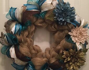 Burlap wreath with teal deco mesh accents, teal flower, Burlap wreath, green flower, sage green ribbon, burlap flower, rustic wreath, arrows