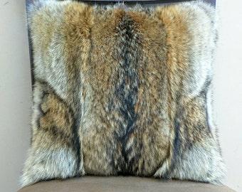Genuine Wild Coyote Fur Decorative Pillow Cover. 16x16 includes insert.