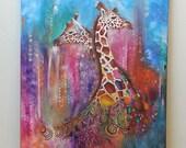 Jungle animal African art African giraffe Original textured oil painting Animal prints Living room Colored giraffe portrait Abstract 20% off