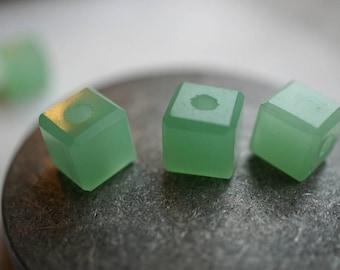Mint Green, Cube Beads, Czech Beads, Beads