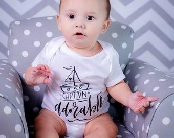 Baby Boy Clothes, Captain Adorable, Funny Baby Boy Clothes, Baby Shower Gift, Boy Toddler, Baby Boy Shirt, Baby Boy Gift, Baby Boy Outfit