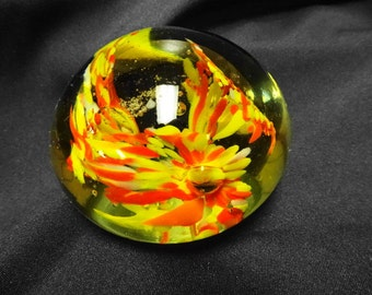 Art Glass Paperweight with Red and Yellow Flowers and Controlled Bubbles