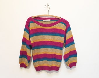 Monarch Knits Candy Stripe Cropped 80s Sweater