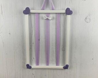 Hair bow holder, hair clip holder, barrette holder, purple hearts frame
