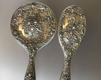 Vintage 1950s Victorian Style Silver Plate Vanity Set. Mirror and Brush. Fabulous Condition!