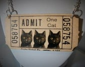 large admit one cat, vintage victorian ticket necklace, black cat lucky